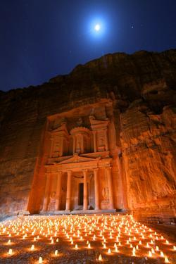 Treasury Lit by Candles at Night, Petra, Jordan, Middle East by Neil Farrin
