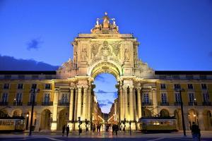 Triumphal Arch at Dusk, Lisbon, Portugal, South West Europe by Neil Farrin