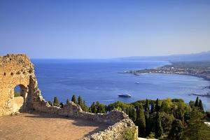 View from Greek Theatre with Mount Etna and Coast in Background by Neil Farrin