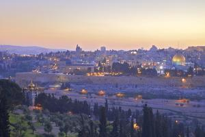 View of Jerusalem from the Mount of Olives, Jerusalem, Israel, Middle East by Neil Farrin