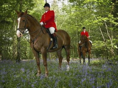 Two Mounted Huntsmen in Forest