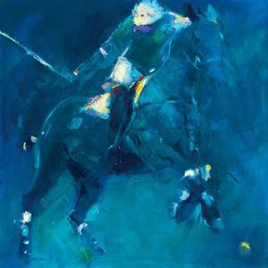 Polo Players - Blue by Neil Helyard
