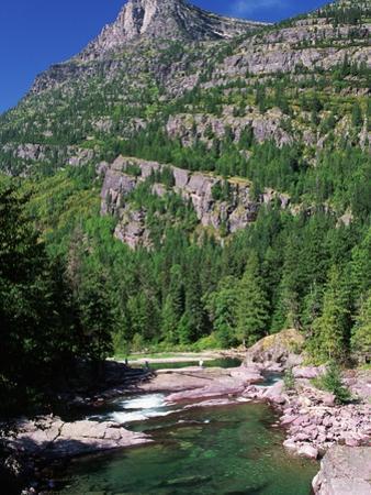 River Flowing Below Mountains