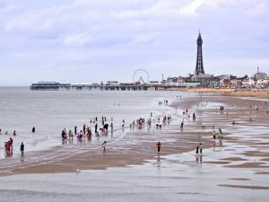 Beach with Holidaymakers and Blackpool Tower in Distance by Neil Setchfield