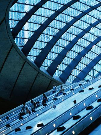 Escalators and Glassed in Roof at Canary Wharf Underground Station, London, England