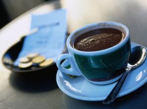 Hot Chocolate on Cafe Table, Barcelona, Spain by Neil Setchfield