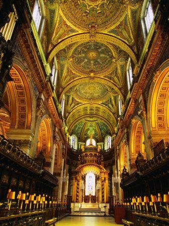 The Choir and Apse of St. Paul's Cathedral Under a Mosaic Ceiling, London, England