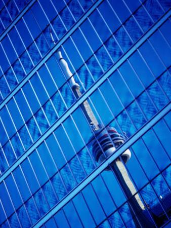 The Cn Tower Reflected in a Skyscraper, Toronto, Ontario, Canada