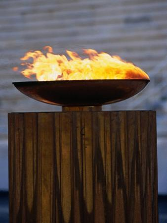 The Olympic Flame Burns in the Reconstructed Roman Stadium, Athens, Attica, Greece