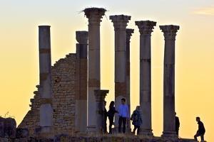 Tourists at Excavated Roman City of Volubilis by Neil