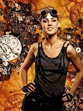 Steampunk Girl Over Grunge Background by NejroN Photo