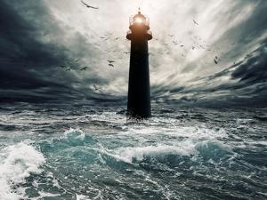 Stormy Sky Over Flooded Lighthouse by NejroN Photo