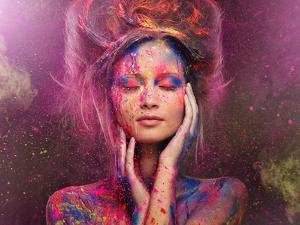 Young Woman Muse with Creative Body Art and Hairdo by NejroN Photo