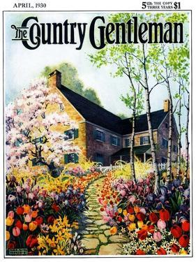 """Home in Springtime,"" Country Gentleman Cover, April 1, 1930 by Nelson Grofe"
