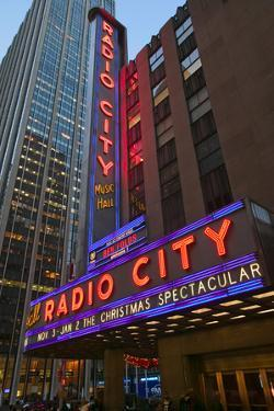Neon lights of Radio City Music Hall at Rockefeller Center, New York City, New York