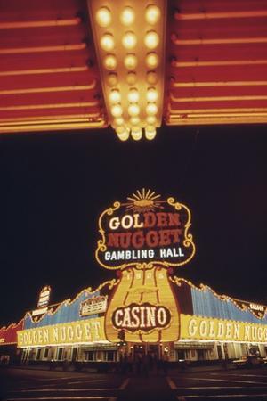 Neon Lights of the Golden Nugget Casino in Las Vegas Nevada, 1970s