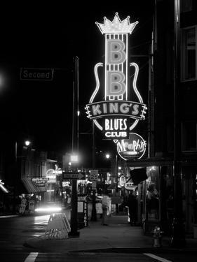 Neon sign lit up at night, B. B. King's Blues Club, Memphis, Shelby County, Tennessee, USA