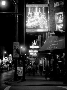 Neon sign lit up at night in a city, Rum Boogie Cafe, Beale Street, Memphis, Shelby County, Tenn...