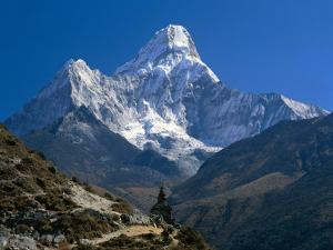Nepal, Ama Dablam Trail, Temple in the Extreme Terrain of the Mountains
