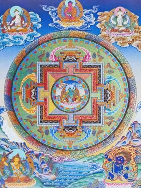 Green Tara Mandala depicting the maternal protector from all dangers in the ocean of existence by Nepalese School