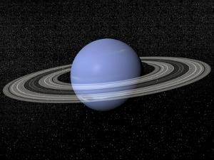 Neptune and its Rings Against a Starry Background