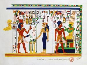 Mural from El-Kab, Egypt, 1841 by Nestor l'Hote