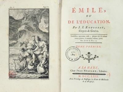 Frontispiece for 'Emile' by Jean-Jacques Rousseau, 1762 (Engraving)