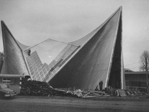 Netherlands Pavilion at Brussels Fair, Designed by Le Corbusier, Shown Being Built
