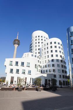 Neuer Zollhof Buildings Designed by Frank Gehry with Rheinturm Tower, Media Harbour