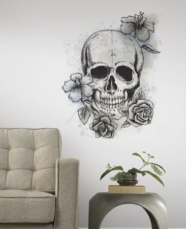 Neutral Floral Skull Peel & Stick Giant Wall Decals
