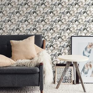 Neutral Rainforest Leaves Peel & Stick Wallpaper
