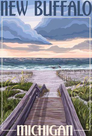 New Buffalo, Michigan - Beach Scene