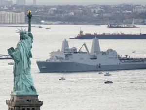 New Navy Assault Ship USS New York, Built with World Trade Center Steel, Passes Statue of Liberty
