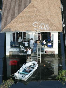 New Orleans Residents Wait to Be Rescued from the Floodwaters of Hurricane Katrina