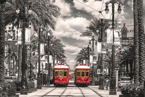 New Orleans- Streetcars On Canal Street
