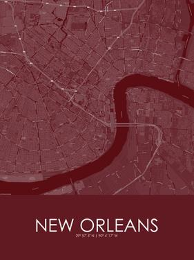 New Orleans, United States of America Red Map