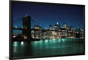 New York City (Brooklyn Bridge & Night Skyline, 2007) Photo Print Poster