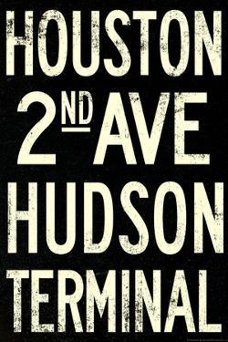 New York City Houston Hudson Vintage RetroMetro Subway Poster