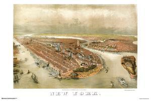 New York City Panoramic Map 1874