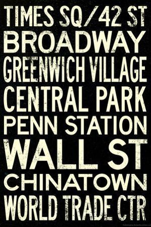 New York City Subway Style Vintage RetroMetro Travel Plastic Sign