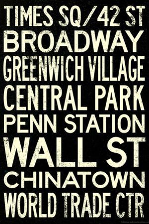 New York City Subway Style Vintage RetroMetro Travel Poster