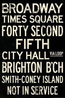 New York City Times Square Broadway Vintage Subway RetroMetro Poster