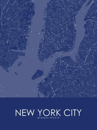 New York City, United States of America Blue Map
