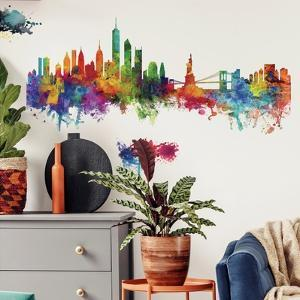 New York City Watercolor Skyline Peel And Stick Giant Wall Decals