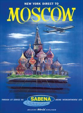 New York Direct to, Moscow, Russia, Sabena Belgian World Airlines
