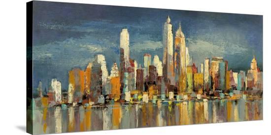 New York, riflessi del mattino-Luigi Florio-Stretched Canvas Print