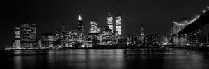 New York Skyline at Night Dominated by the Twin Towers of the World Trade Centre, August 1981