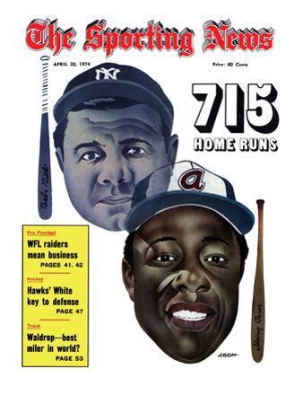 New York Yankees' Babe Ruth and Atlanta Braves' Hank Aaron - April 20, 1974