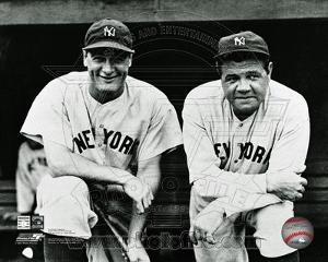 New York Yankees Lou Gehrig #4 and Babe Ruth #3 posed on the dugout steps circa 1932.