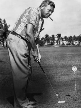 New York Yankees. Retired Outfielder Babe Ruth Playing Golf, Late 1940s